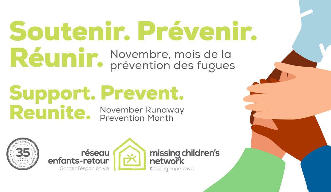 Novembre est le mois de la prévention des fugues